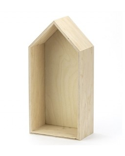 Houten Huisje 14x29,5cm