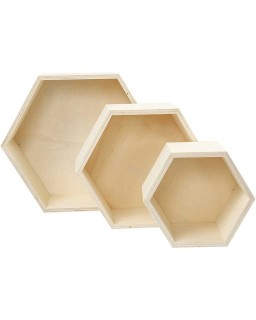 Houten Showdozen hexagon