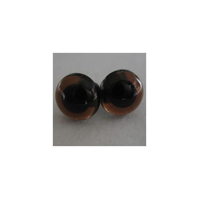 veiligheidsoogjes 12mm donkerbruin transparant