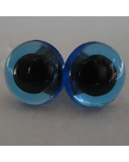 Veiligheidsoogjes 13,5mm Blauw transparant