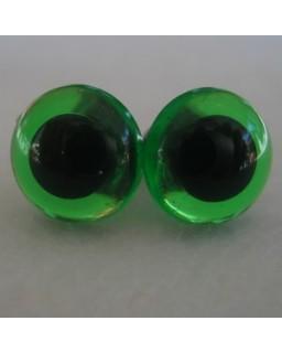 veiligheidsogen 16,5 mm groen transparant