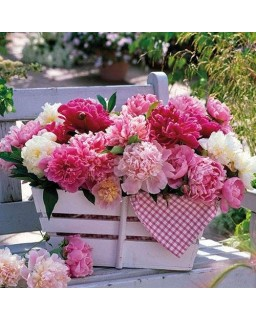 Servet Peonies In Basket